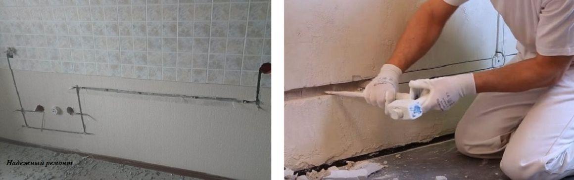 Штробление борозд в стенах